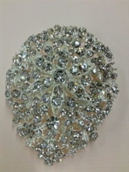 BRO-RHS-146-CLEARCRYSTAL.  CLEAR CRYSTAL BROOCH - 2.25 X 2.5 INCH