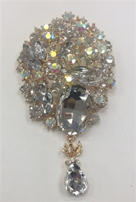 BRO-RHS-265-ABGOLD. Clear and AB Rhinestones on Gold Metal Broach - 2.5 x 4.5 Inches