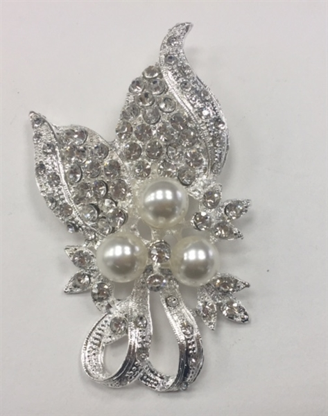 BRO-RHS-266-SILVER. Clear Rhinestones and Pearls on Silver Metal Broach - 1.5 x 3 Inches