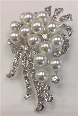 BRO-RHS-268-SILVER. Clear Rhinestones and Pearls on Silver Metal Broach - 1.5 x 2.5 Inches