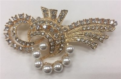 BRO-RHS-269-GOLD. Clear Rhinestones and Pearls on Gold Metal Brooch - 1.5 x 3 Inches