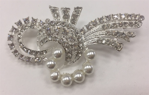 BRO-RHS-269-SILVER. Clear Rhinestones and Pearls on Silver Metal Brooch - 1.5 x 2.5 Inches
