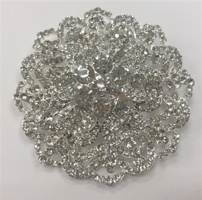 BRO-RHS-276-SILVER. Clear Rhinestones on Silver Metal Brooch - 3 x 3 Inches