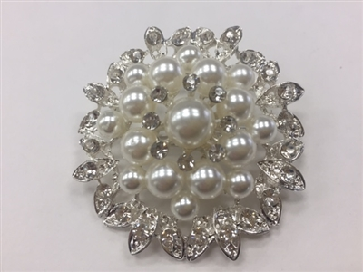 BRO-RHS-277-SILVER. Clear Rhinestones and White Pearls on Silver Metal Brooch - 2 x 2 Inches