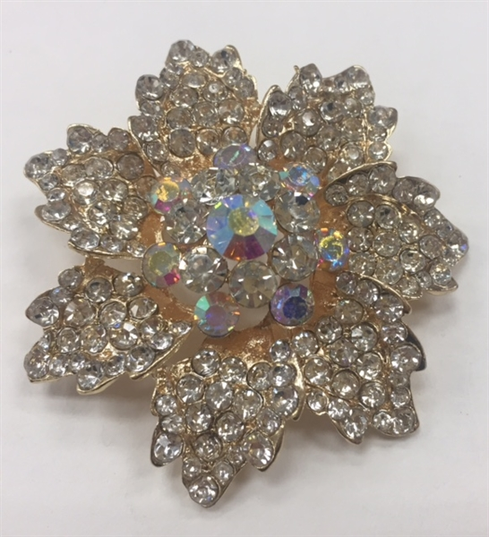 BRO-RHS-278-GOLD. Clear and AB Rhinestones on Gold Metal Brooch - 2 x 2 Inches