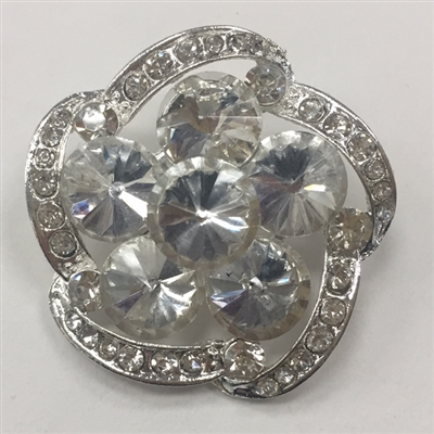 BRO-RHS-279-SILVER. Clear Rhinestones on Silver Metal Brooch - 1.5 x 1.5 Inches
