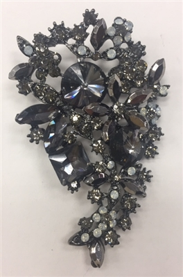 BRO-RHS-281-BLACK. Black Rhinestones on Black Metal Brooch - 3.5 x 2 Inches