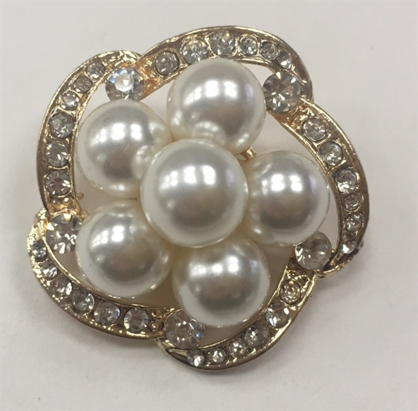 BRO-RHS-282-GOLD. Clear Rhinestones and White Pearls on Gold Metal Brooch - 1.5 x 1.5 Inches