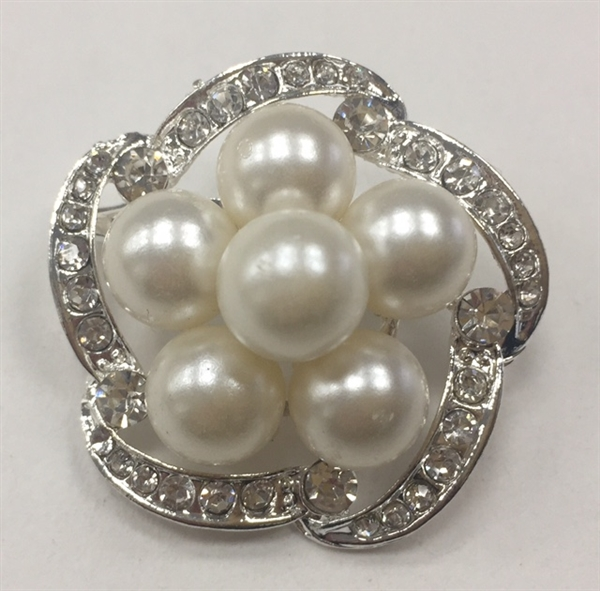 BRO-RHS-282-SILVER. Clear Rhinestones and White Pearls on Silver Metal Brooch - 1.5 x 1.5 Inches