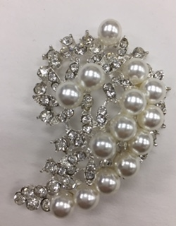 BRO-RHS-284-SILVER. Clear Rhinestones and White Pearls on Silver Metal Brooch - 2 x 1.5 Inches