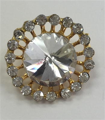 Rhinestone Button with Clear Crystal Stone in the Center Surrounded by Clear Crystals on Gold Metal