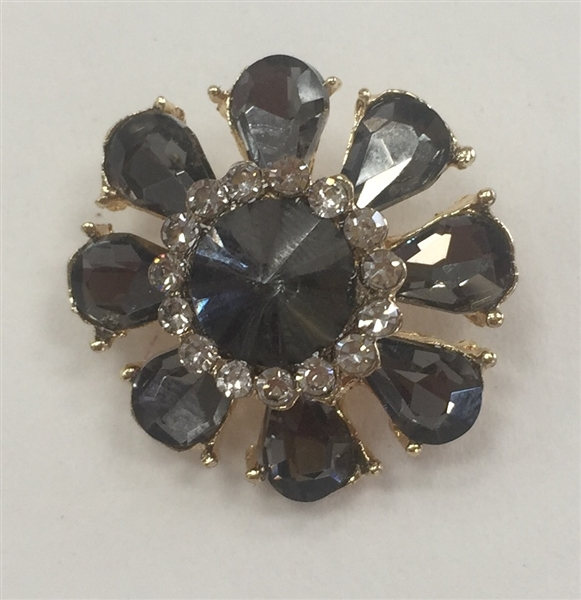 BTN-RHS-114-GOLD - CLEAR AND BLACK RHINESTONE BUTTON; 3/4 INCH - Boton con diamante imitacion
