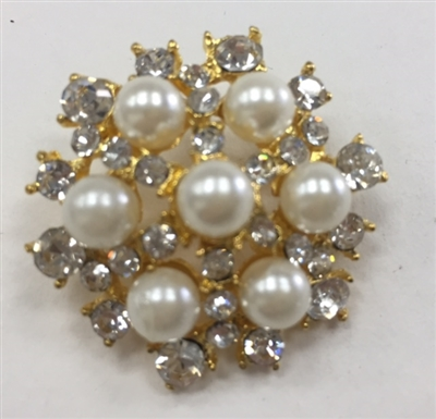 BTN-RHS-153-GOLD.  Gold Rhinestone Button - 1.125 Inches