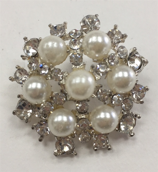 BTN-RHS-153-SILVER.  Silver Rhinestone Button - 1.125 Inches