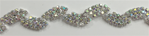 CHN-RHS-034-AB. AB CRYSTAL RHINESTONE ON SILVER METAL CHAIN - 0.5 INCH