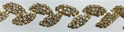 CHN-RHS-034-GOLD. CRYSTAL RHINESTONE ON GOLD CHAIN - 0.5 INCH