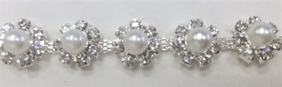 CHN-RHS-042-SILVER.  CRYSTAL RHINESTONE CHAIN WITH PEARLS - 0.5 INCH