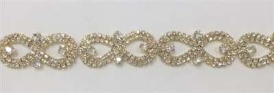 CHN-RHS-044-CLEARGOLD.  CLEAR CRYSTAL RHINESTONE CHAIN ON GOLD FRAME - 5/8 INCH WIDE
