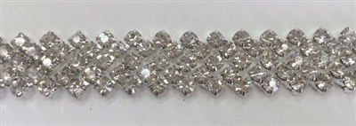CHN-RHS-045-CLEARSILVER.  CLEAR CRYSTAL RHINESTONE CHAIN - 5/8 INCH WIDE