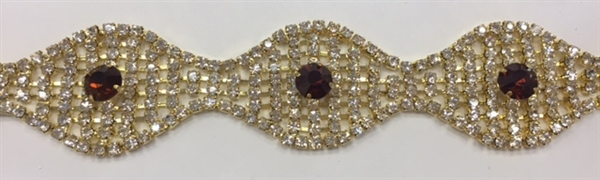 CHN-RHS-047-GOLDAMETHYST.  Clear Crystal and Amethyst Rhinestones on Gold Metal Chain - 1 Inch Wide