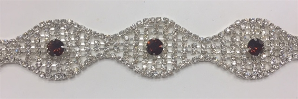 CHN-RHS-047-SILVERAMETHYST. Clear Crystal and Amethyst Rhinestones on Gold Metal Chain - 1 Inch Wide