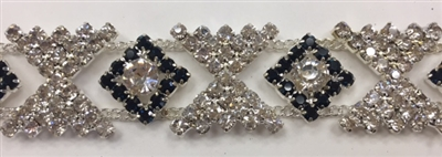 CHN-RHS-048-SILVERBLACK.  Clear Crystal and Black Rhinestones on Silver Metal Chain - 5/8 Inch Wide