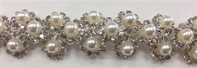 CHN-RHS-050-SILVERPEARL.  Clear Crystal Rhinestones With White Pearls on Silver Metal Chain - 3/4 Inch Wide