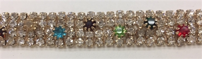 CHN-RHS-053-MULTI.  Multi-Color Crystal Rhinestones on Gold Metal Chain - 0.5 Inch Wide