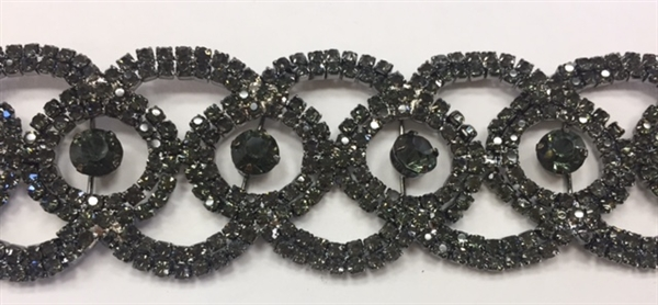 CHN-RHS-054-JETBLACK.  Jet Black Crystal Rhinestones on Black Metal - 1.5 Inch Wide
