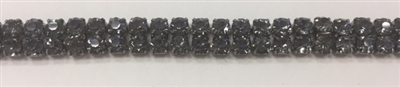 CHN-RHS-056-BLACK. 2-Rows Black Crystal Rhinestone Cup Chain. Black Crystal Stone in a Black Claw - Each Stone is 3 MM Wide