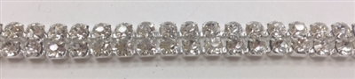 CHN-RHS-056-SILVER. 2-Rows Silver Crystal Rhinestone Cup Chain. Clear Crystal Stone in A Silver Claw - Each Stone is 3 MM Wide