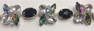 CHN-RHS-061-SILVER. Multi-Color Crystal Rhinestone Chain - Multi-Color Crystals Set in Silver Claws on a Silver Metal Backing - 1 Inch Wide