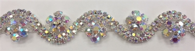 CHN-RHS-065-AB. AB RHINESTONE ON SILVER METAL CHAIN - 3/4 INCH WIDE - PRICE IS PER YARD