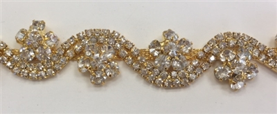 CHN-RHS-065-GOLD. CRYSTAL RHINESTONE ON GOLD METAL CHAIN - 3/4 INCH WIDE - PRICE IS PER YARD
