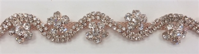 CHN-RHS-065-ROSEGOLD. CRYSTAL RHINESTONE ON ROSE GOLD METAL CHAIN - 3/4 INCH WIDE - PRICE IS PER YARD
