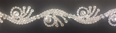 CHN-RHS-066-SILVER. CRYSTAL RHINESTONE ON SILVER METAL CHAIN - 1 INCH WIDE - PRICE IS PER YARD