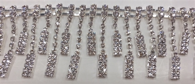CHN-RHS-067-SILVER. CRYSTAL RHINESTONE ON SILVER METAL CHAIN - 1 5/8 INCH WIDE - $21 PER YARD