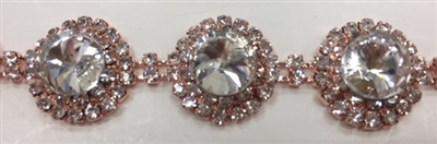 CHN-RHS-068-ROSEGOLD. CRYSTAL RHINESTONE ON ROSE GOLD METAL CHAIN - 3/4 INCH WIDE - $16 PER YARD