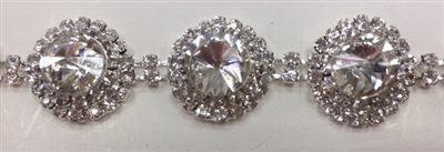 CHN-RHS-068-SILVER. CRYSTAL RHINESTONE ON SILVER METAL CHAIN - 3/4 INCH WIDE - $16 PER YARD
