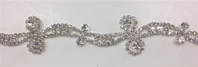 CHN-RHS-069-SILVER. CRYSTAL RHINESTONE ON SILVER METAL CHAIN - 1 INCH WIDE - $15 PER YARD
