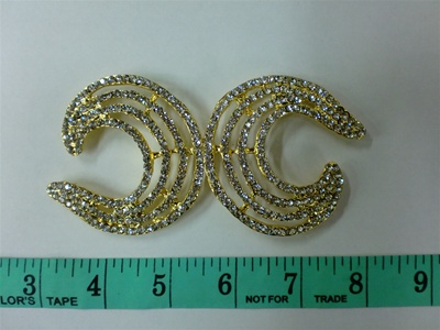 CLZ-RHS-001-GOLD.  CRYSTAL RHINESTONE CLOSURE.  4.75 X 2.25 INCHES CLZ-RHS-001-ORO DORADO.  DIAMANTE IMITACION DE CRISTAL .  4.75 X 2.25 INCHES