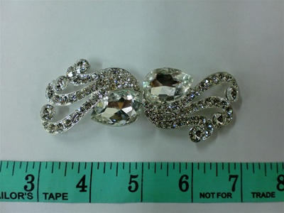 CLZ-RHS-002-SILVER.  CRYSTAL RHINESTONE CLOSURE.  4.0 X 1.5 INCHES