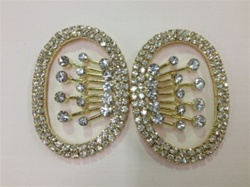CLZ-RHS-006-GOLD.  CRYSTAL RHINESTONE CLOSURE.  3 X 2 INCHES