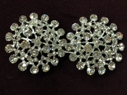 CLZ-RHS-008-SILVER.  CRYSTAL RHINESTONE CLOSURE.  3 X 1.5 INCHES