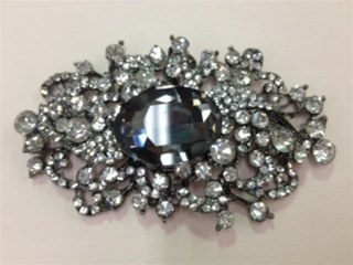 CLZ-RHS-009-BLACK.  CRYSTAL RHINESTONE CLOSURE.  4 X 2.50 INCHES