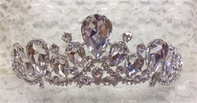CWN-100-SILVER.    WHOLESALE CROWN, CLEAR CRYSTALS ON SILVER METAL