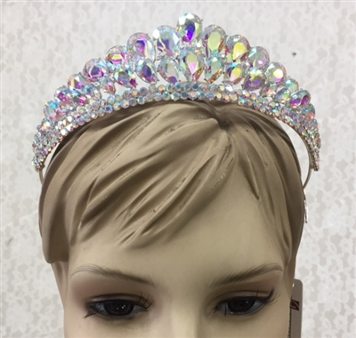 CWN-101-AB.    WHOLESALE CROWN, AB CRYSTALS ON SILVER METAL