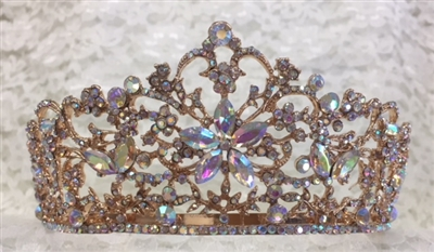 CWN-102-ROSEGOLD-AB. WHOLESALE CROWN, AB CRYSTALS ON ROSE-GOLD METAL