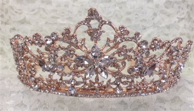 CWN-102-ROSEGOLD-CRYSTAL. WHOLESALE CROWN, CLEAR CRYSTALS ON ROSE-GOLD METAL