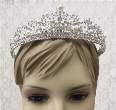 CWN-103-SILVER-CRYSTAL-PEARL. WHOLESALE CROWN, CLEAR CRYSTALS AND PEARLS ON SILVER METAL